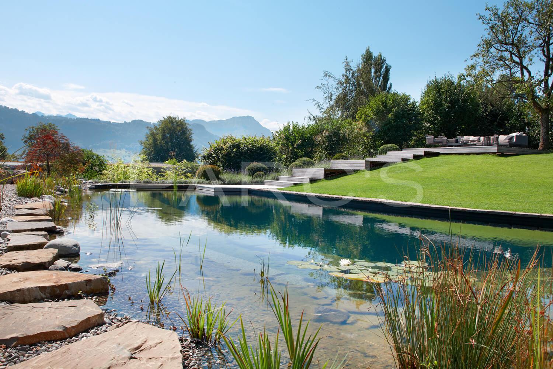 Traumgarten mit schwimmteich und holzdeck for Naturteich schwimmteich