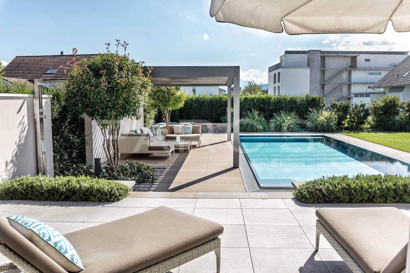 Beliebt Wohnlicher Garten mit Pool - Parc's Gartengestaltung PN45